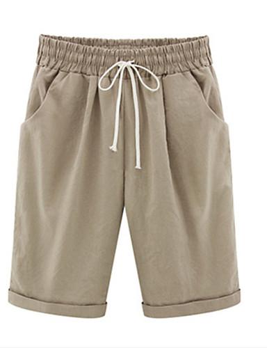 billige Tights til damer-Dame Grunnleggende Store størrelser Shorts Bukser - Ensfarget Bomull Lyseblå Militærgrønn Kakifarget XXXXL XXXXXL XXXXXXL