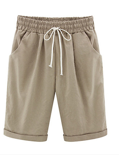 billige Damebukser-Dame Basale Plusstørrelser Shorts Bukser - Ensfarvet Bomuld Lyseblå Army Grøn Kakifarvet XXXXL XXXXXL XXXXXXL