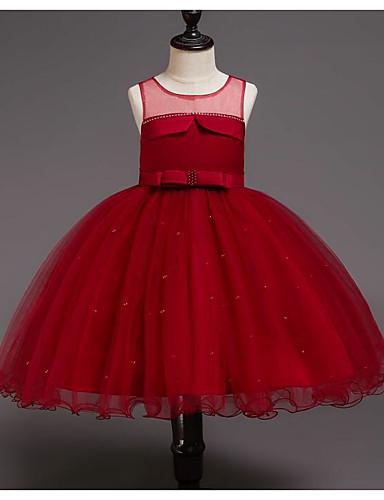 Kinder Mädchen nette Art Patchwork Schleife / Gitter / Patchwork Ärmellos Kunstseide / Polyester Kleid Rote