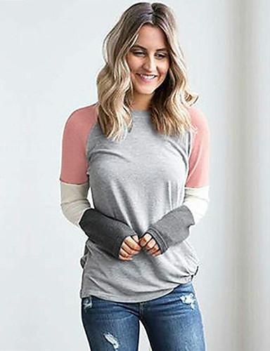 Mulheres Camiseta Patchwork, Estampa Colorida Algodão Rosa M
