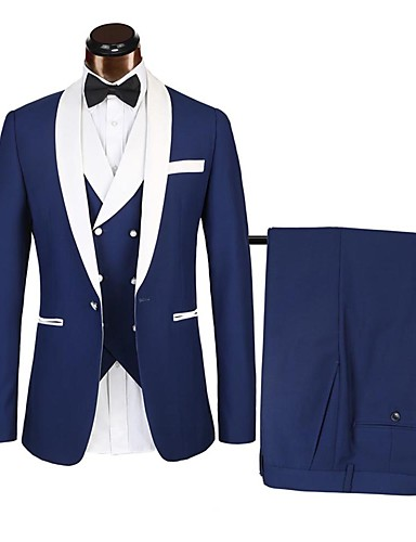 cheap Tuxedos & Suits-Tuxedos Standard Fit Shawl Collar Single Breasted One-button Polyster Color Block