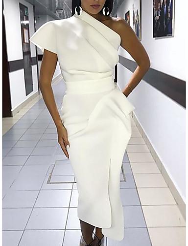 baratos Roupa de Mulher-Mulheres Sensual Delgado Tubinho Vestido - Franjas, Sólido Assimétrico Médio / Bandagem
