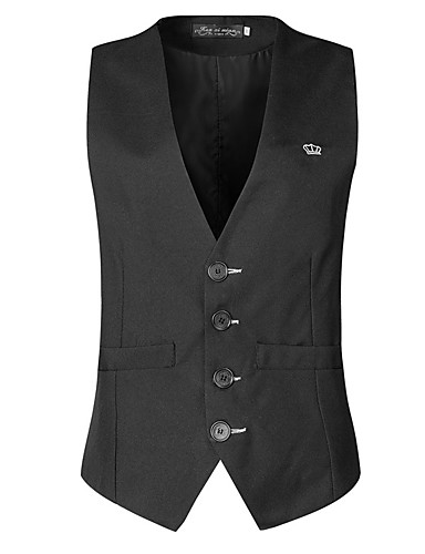 voordelige Herenblazers & kostuums-Heren Vest V-hals Polyester Zwart / Slank