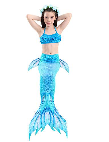 levne Filmové a TV kostýmy-The Little Mermaid Malá mořská víla Plavky Děti Dívčí Den dětí Nový rok Festival / Svátek Polyester Duhová / Žlutá + modrá / Fialová Modrá Karnevalové kostýmy Mořská panna