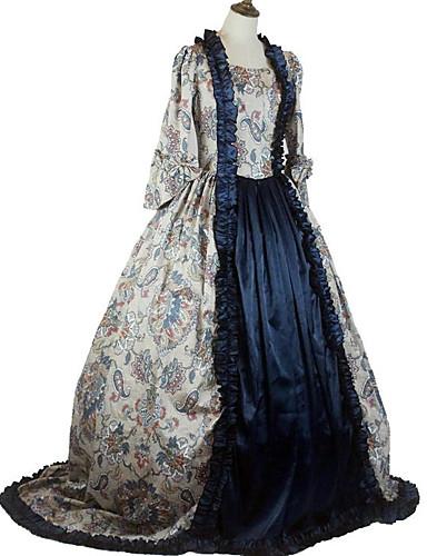 levne Kostýmy z dávných časů-královna Alžběta Vintage Rococo Barroco Viktoria Tarzı Šaty Cosplay Kostýmy Dámské Kostým Inkoustová modř Retro Cosplay Na zem Větší velikosti Na zakázku
