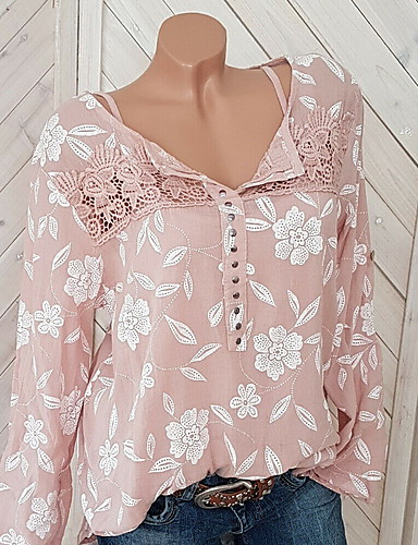 cheap 5/17-Women's Going out Street chic Plus Size Blouse - Floral Lace Shirt Collar Red XXXL / Spring / Fall