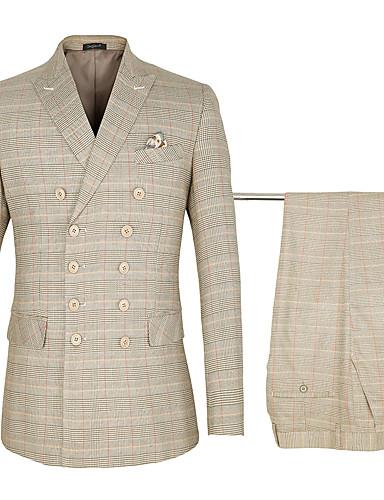 povoljno Svečana odijela-Žutomrk kockast Standardni kroj Pamuk / polyster Odijelo - Šiljasti Šest gumba na dvostruko kopčanje / odijela