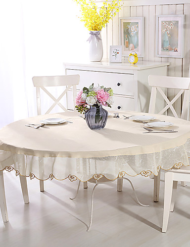 cheap Table Cloths-Contemporary Special Material Round Table Cloth Solid Colored Flower Table Decorations