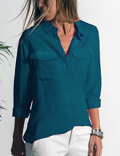 povoljno Majica-Veći konfekcijski brojevi Majica Žene Jednobojni Kragna košulje Sive boje