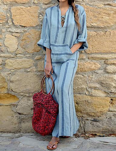 Attento Per Donna Moda Città Fodero Vestito A Strisce Maxi #07160672