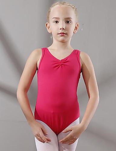 preiswerte Ballettbekleidung-Tanzkleidung für Kinder / Ballett Turnanzug Mädchen Training / Leistung Baumwolle Horizontal gerüscht Ärmellos Normal Gymnastikanzug / Einteiler