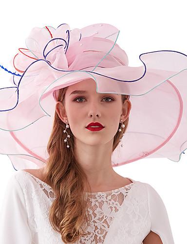 abordables Chapeau & coiffure-Organza Kentucky Derby Hat / Fascinators / Coiffe avec Etagée 1 Pièce Mariage / De plein air Casque