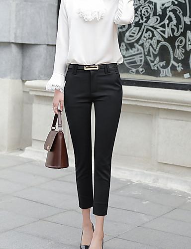 abordables Pantalons Femme-Femme Basique Costume Pantalon - Couleur Pleine Taille haute Coton Blanche Noir Bleu Marine L XL XXL