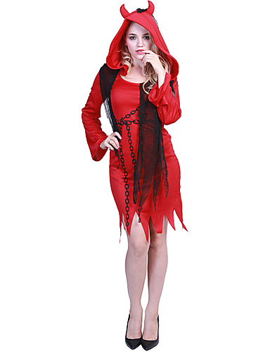 8b46333b3a35 Angel / Devil Dress Cosplay Costume Adults' Female Dresses Halloween  Halloween Carnival Masquerade Festival / Holiday Polyster Red Female  Carnival Costumes ...