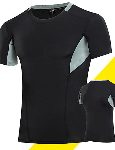 cheap Compression Clothing-Men's Compression Shirt Short Sleeve Compression Base layer T Shirt Top Plus Size Lightweight Breathable Quick Dry Soft Sweat-wicking Grey Black / Green Golden+Black Spandex Road Bike Mountain Bike