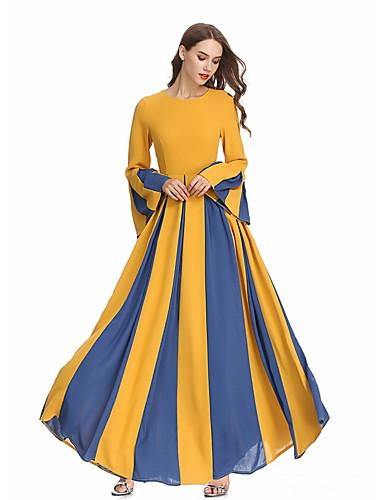 Per Donna Boho Elegante Chiffon Caftano Vestito - Collage, Monocolore Maxi #07188895
