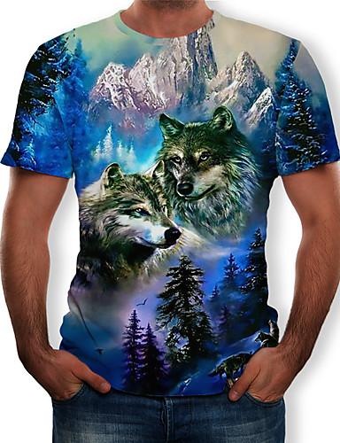 voordelige Heren T-shirts & tanktops-Heren Print T-shirt 3D / dier Ronde hals blauw