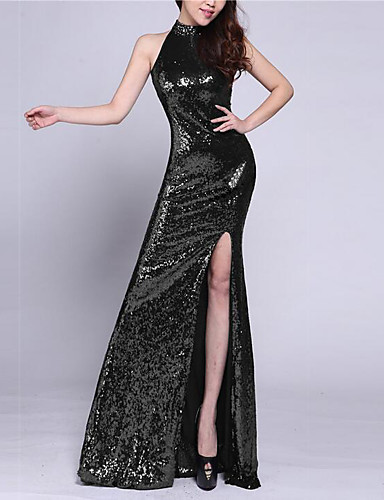 767b96507b8 Mermaid   Trumpet High Neck Floor Length Tulle   Sequined Sparkle   Shine Formal  Evening Dress with Sequin   Crystals   Embroidery by LAN TING Express   ...