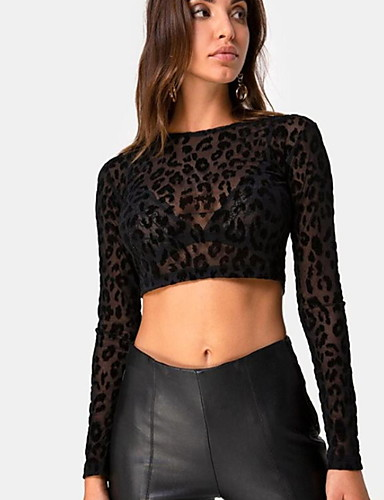 Blusa Per donna Leopardata Nero S / Taglia piccola