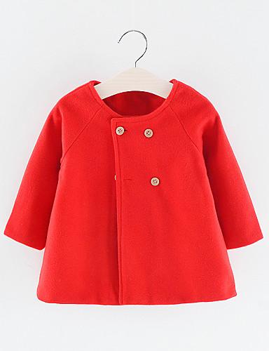 Baby Jente Grunnleggende Ensfarget Normal Polyester Trenchcoat Svart