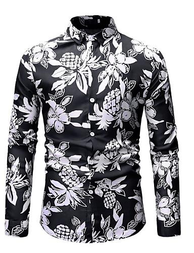 Camicia Per uomo Con stampe, Fantasia geometrica Blu XL
