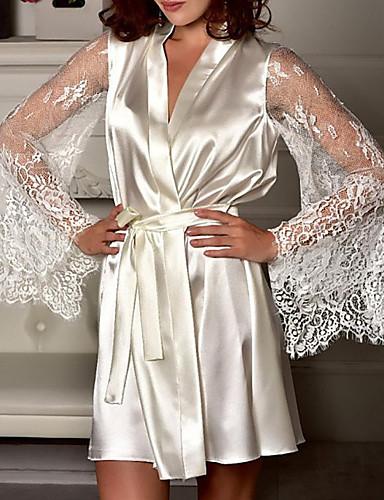 billige Undertøy-Normal Polyester BH- og trusesett Sexy Ensfarget Bryllup Blonder