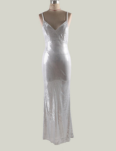 Women's Basic Maxi Sheath Dress - Solid Colored Strap Silver M L XL