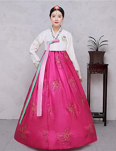 04af88fe560a Hanbok κορίτσι Ενηλίκων Γυναικεία Ασιατικό Παραδοσιακά Κορεάτικα Jeogori  Χάνκοκ Magoja Για Επίδοση Πάρτι Αρραβώνων Πάρτι πριν το Γάμο Βαμβάκι Μακρύ  Μήκος ...