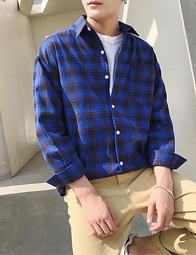 Men's Shirt - Plaid Blue M