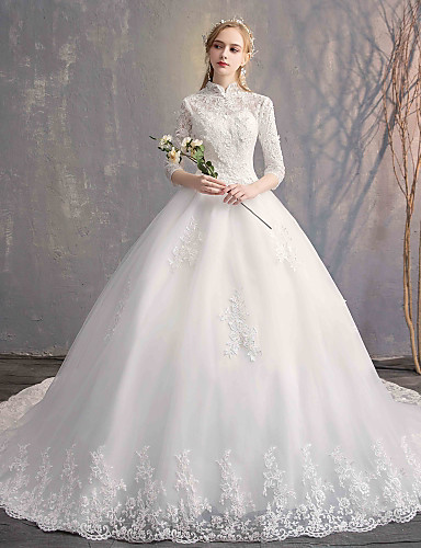 3a17af0e8f5cd Ball Gown High Neck Chapel Train Lace / Tulle / Lace Over Satin  Made-To-Measure Wedding Dresses with Appliques / Lace by LAN TING Express