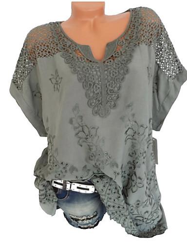 billige Dametopper-Løstsittende V-hals Skjorte Dame - Ensfarget, Blonde Grunnleggende Svart US16 / Sommer
