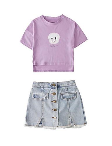 Børn Pige Basale Gade Trykt mønster Flerlags Trykt mønster Kortærmet Bomuld Polyester Tøjsæt Hvid