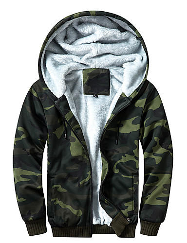 cheap Outdoor Clothing-Men's Camo Hiking Windbreaker Outdoor Autumn / Fall Winter Breathable Warm Quick Dry Comfortable Jacket Single Slider Climbing Traveling Army Green / Khaki