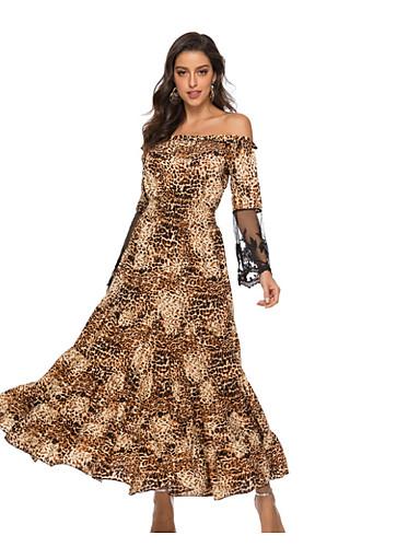 af4eebf85db64 فستان نسائي ثوب ضيق متموج أساسي طويل للأرض حيوان