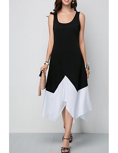 abordables Robes Femme-Femme Elégant Asymétrique Trapèze Robe Bloc de Couleur Noir L XL XXL Sans Manches