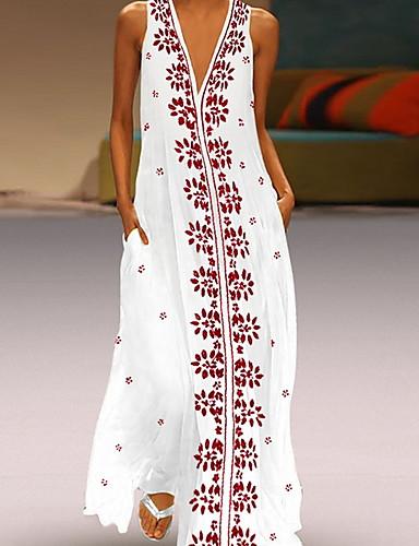 cheap Women's Dresses-Women's Basic A Line Dress - Floral Print White Black L XL XXL