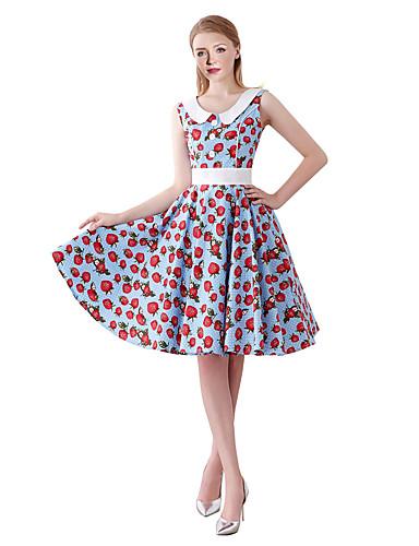 f93af1aeeb028 Women's Vintage Swing Dress - Fruit Print Blue L XL XXL 7246486 2019 ...