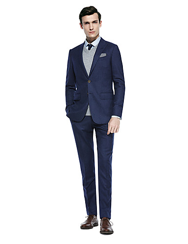 cheap Suits-Custom Suits Deep Blue / Dark Grey / Dark navy Solid Colored Standard Fit Wool Blends Suit - Peak Single Breasted Two-buttons
