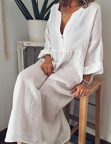 9db6d17a777e billige Kjoler-kvinders maxi tunic kjole v halskæde sølv gul m l xl xxl