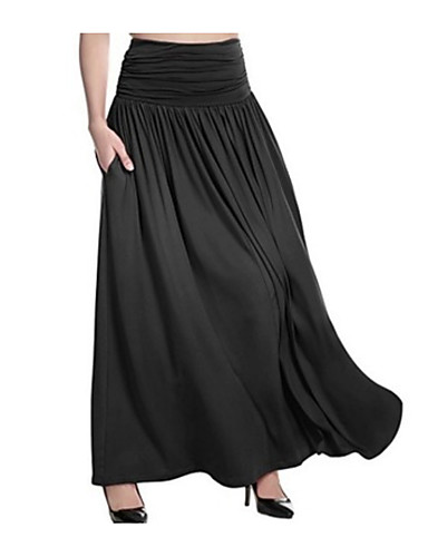 cheap Women's Bottoms-Women's Basic Plus Size Maxi A Line Skirts - Solid Colored Dark Gray Fuchsia Light gray