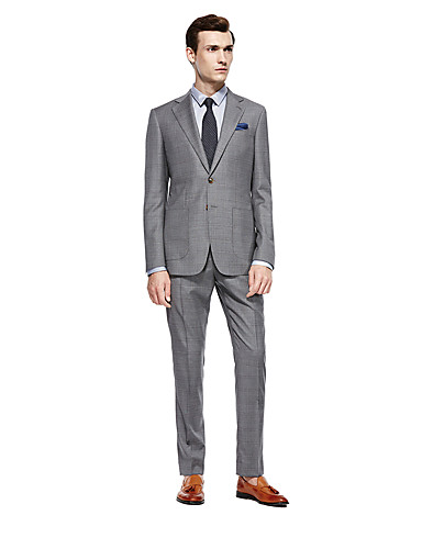cheap Suits-Custom Suits Gray Checkered Standard Fit Wool Suit - Notch Single Breasted Two-buttons
