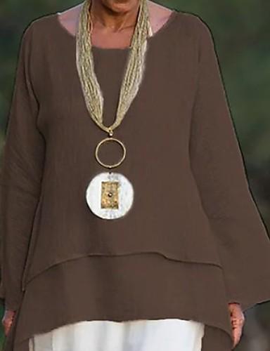 povoljno Majica-Veći konfekcijski brojevi Majica Žene Jednobojni V izrez Slim Bež