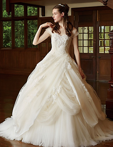baratos Vestidos de Casamento 2019-De Baile Decote Princesa Cauda Corte Renda / Tule Vestidos de casamento feitos à medida com Apliques de LAN TING BRIDE®