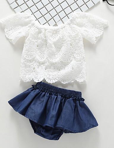 29b4a767cbda Χαμηλού Κόστους Ρούχα για κορίτσια-Μωρό Κοριτσίστικα Βασικό Μονόχρωμο Κοντομάνικο  Κανονικό Πολυεστέρας Σετ Ρούχων Λευκό