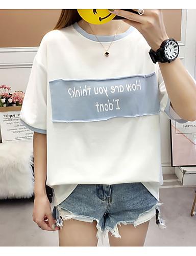 2019 Ultimo Disegno T-shirt Per Donna Alfabetico Blu L #07250869