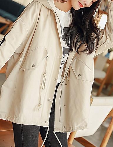 9c79b558fb4 여성용 일상 베이직 모든계절 & 가을 보통 트렌치 코트, 솔리드 후디 긴 소매 폴리에스테르 푸른 / 베이지 M / L / XL