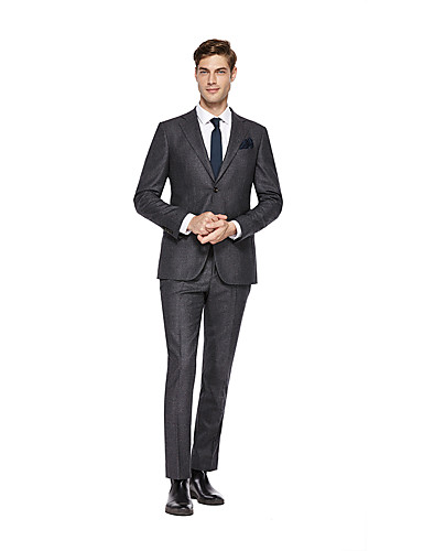 cheap Suits-Custom Suits Dark Grey Solid Colored Standard Fit Wool Suit - Notch Single Breasted Two-buttons