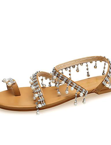 povoljno Ženske sandale-Žene Eko koža Ljeto slatko Sandale Ravna potpetica Otvoreno toe Štras / Umjetni biser Obala / Crn / Braon