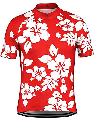 cheap Cycling Clothing-Malciklo Men's Short Sleeve Cycling Jersey Rose Red Green Blue Floral Botanical Bike Jersey Top Breathable Quick Dry Sweat-wicking Sports Terylene Mountain Bike MTB Road Bike Cycling Clothing Apparel