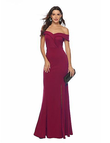 00284e7a07d Women s Vintage Sophisticated Swing Trumpet   Mermaid Dress - Solid Colored  Backless Split Wine L XL XXL